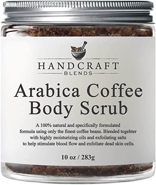 100% Natural Arabica Coffee Body Scrub with Organic Ingredients – Best for Stretch Marks, Acne, Anti Cellulite & Spider Vein Therapy for Varicose Veins - 10 OZ Best Coffee Scrubs