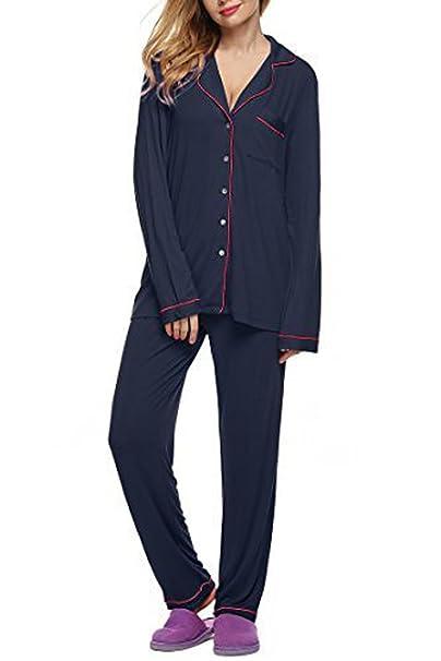 Meaneor Mujeres Conjunto de 2 Piezas Pijama de Seda Camiseta de Mangas Largas y Pantalones Largos