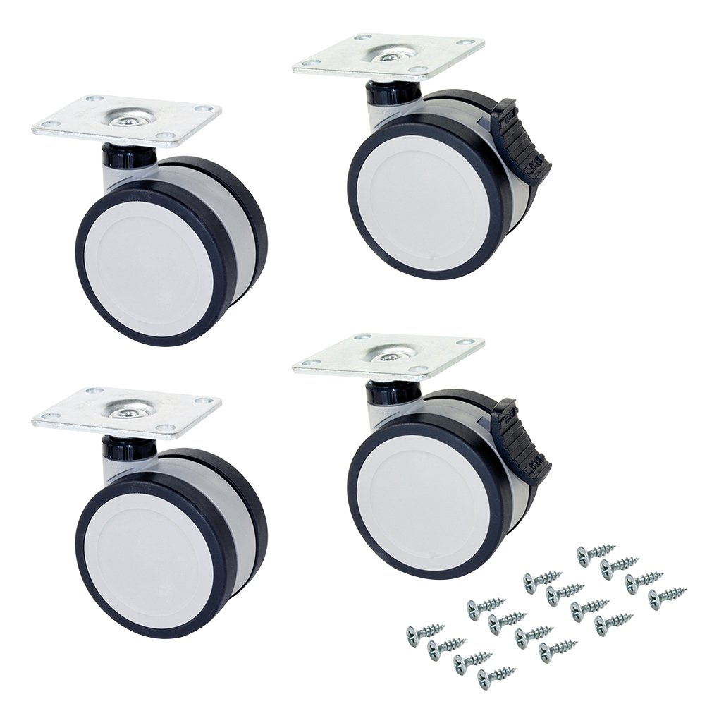 di/ámetro 75mm con placa de montaje y rodamiento de bolas Emuca 2037221 Lote de 4 ruedas pivotantes grises y negras para mueble 2 con freno y 2 sin freno