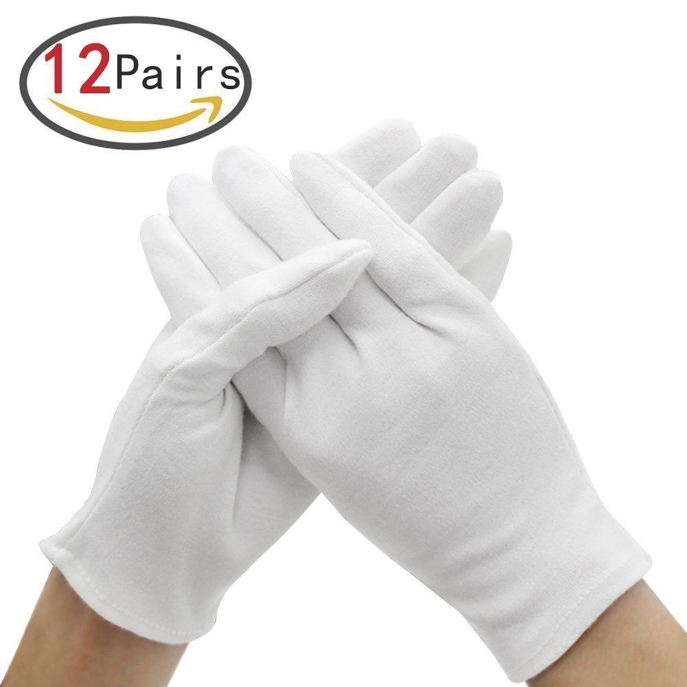 12Paar weiß Baumwolle Handschuhe für die Haut Schutz und in 3Größen (XL/L/M Größen), bietet verwendet von persönlichen zu Professionelle Präsentation kettion