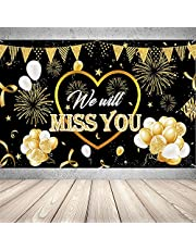 We Will Miss You Party Decorations,Going Away Party Backdrop,Farewell Banner for Anniversary Graduation Retirement Party(Black and Gold,70.8 x 45 Inch)