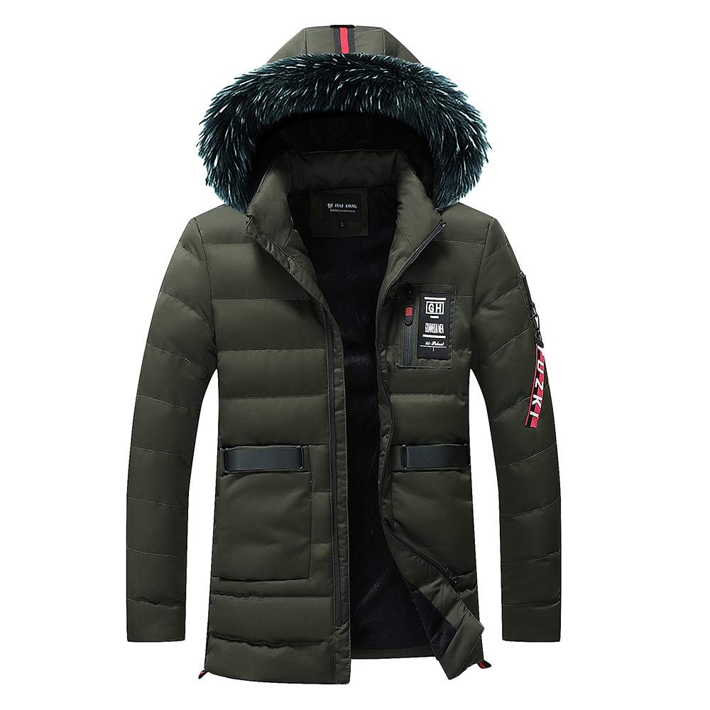 Mens Down Coats,Winter Removable Faux Fur Hooded Down Jacket Lined Puffer Jacket Outerwear Zulmaliu (Army Green,L)