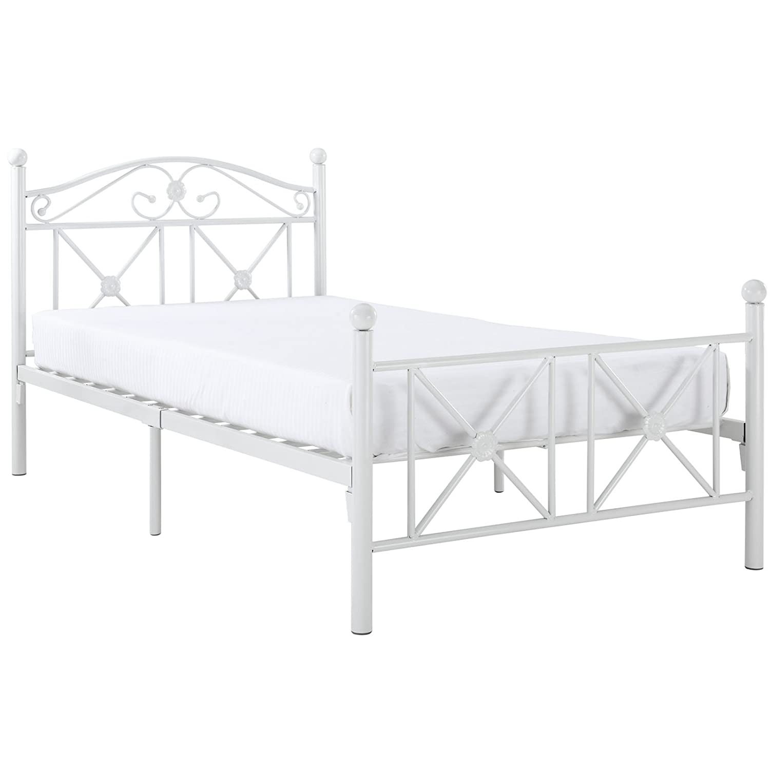 Amazon.com: Modway Cottage Iron Metal Platform Bed in White, Twin ...