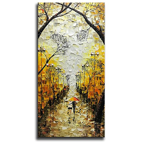 Asdam Art-Large Vertical Artwork 100% Hand Painted Oil Paintings On Canvas Romatic Night Street Art Landscape Pictures Modern Abstract Wall Art for Bedrroom Livingroom Office Home Wall (Night Oil Painting)
