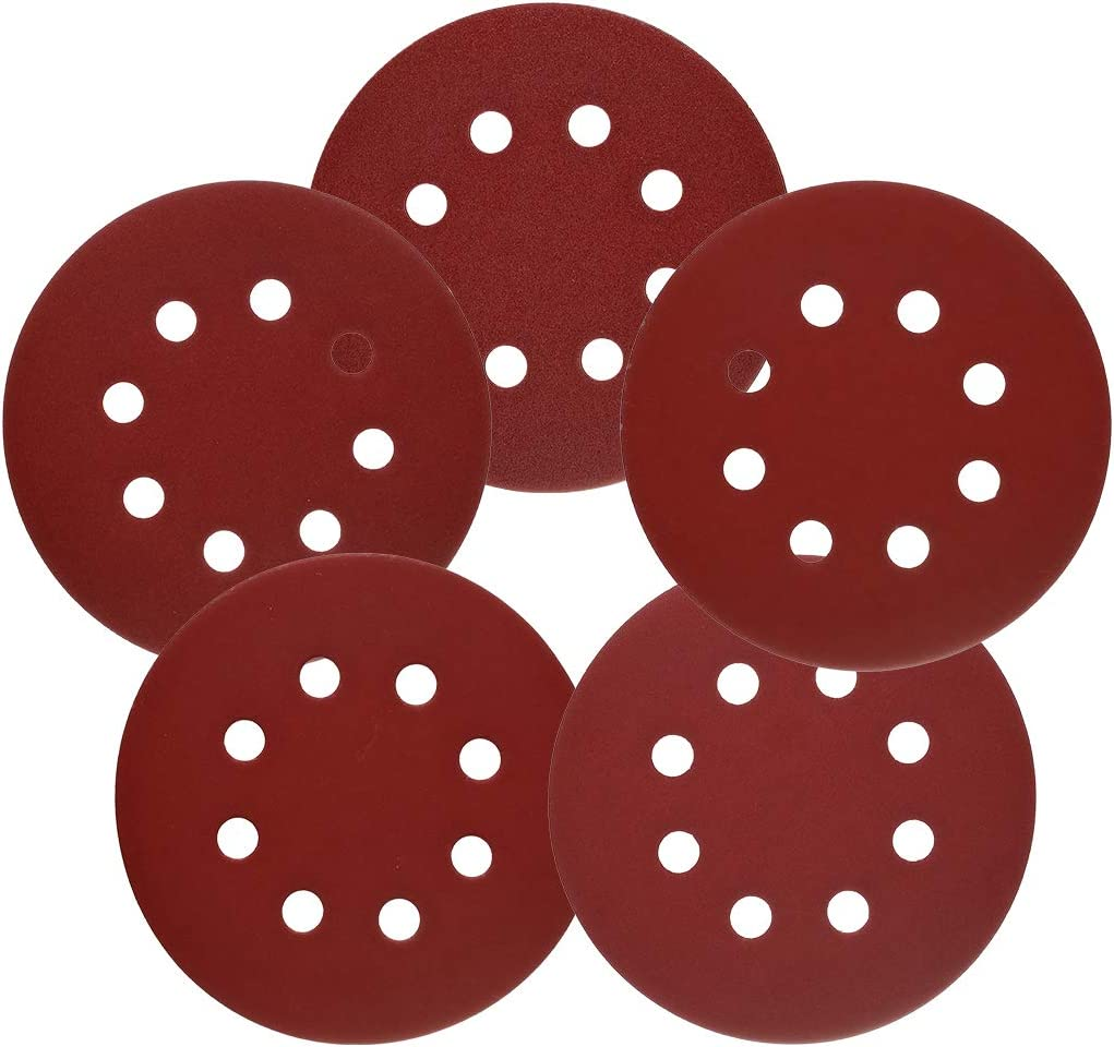 5-Inch 8-Hole Hook and Loop Sanding Discs 100PCS, 120/240/320/600/800 Assorted Grits Sandpaper - Pack of 100