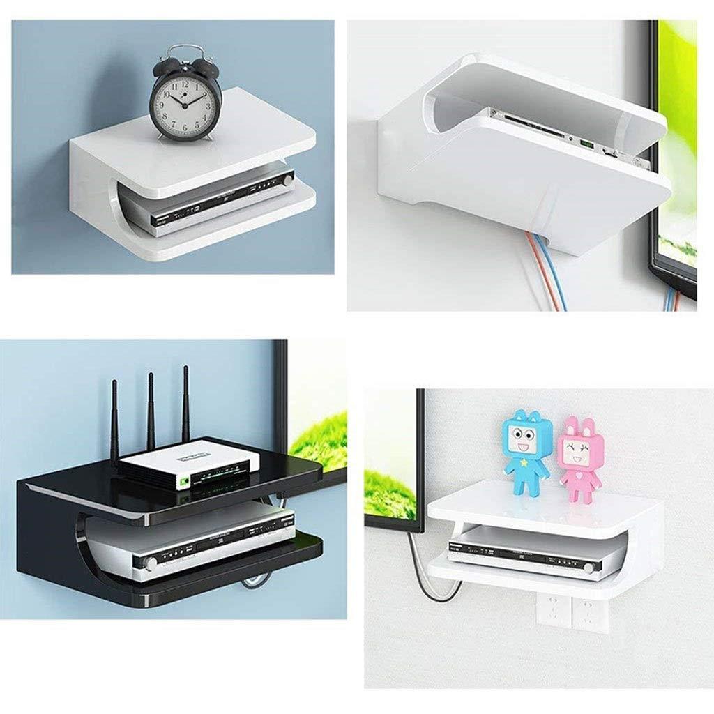 YANQ Estante Flotante para componentes de televisi/ón para decodificadores//enrutadores//remotos//Reproductores de DVD//Consolas de Juegos 2 Niveles Consola de Medios montada en la Pared de Metal co