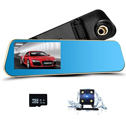 5 IPS Screen SmarTure 1296P Rear View Mirror Dash Cam with Backup Camera Reverse Assist Parking Protection,Two Channels Recording 3rd Gen 150 Degree Wide Angle Front Camera with Night Vision
