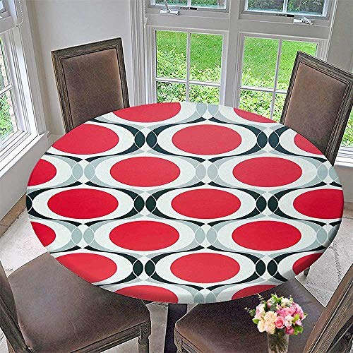 Mikihome Round Fitted Tablecloth with Red Dots and Black Swatch White Background Red Black Silver for All Occasions 40