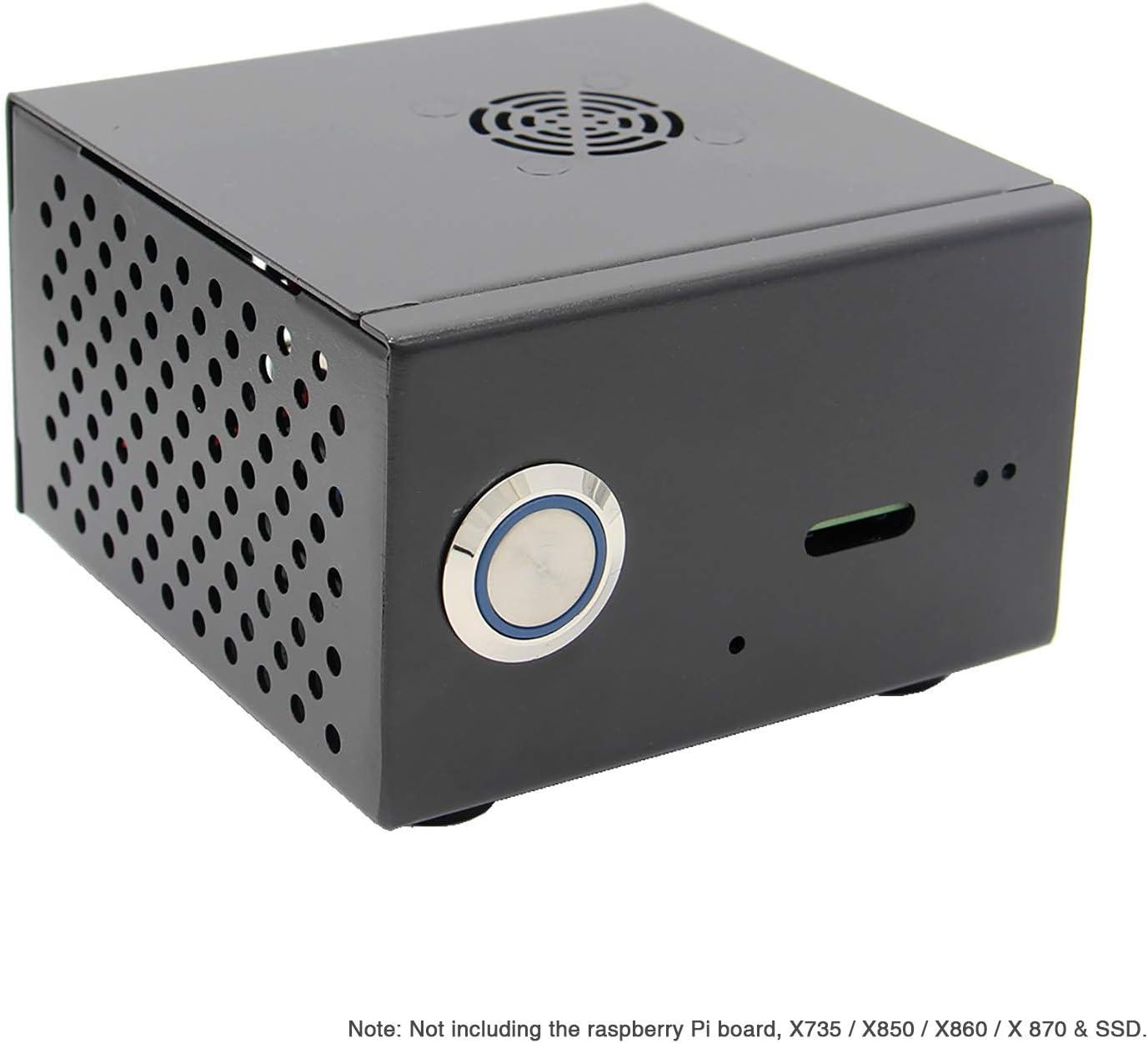 Geekwrom Raspberry Pi X850 V3.0 mSATA SSD Caja de expansión de Metal con Kit de Ventilador de refrigeración, Carcasa para X850 V3.0 Board y Raspberry Pi 3 Modelo B+ / 3B /2B: