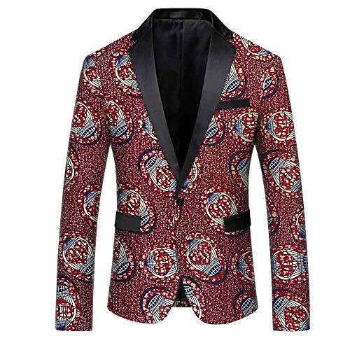 - African Ankara Print Fashion Coat for Men Full Sleeves Single Button Jacket Batik Cotton Polyester Lining Material Made 398-4J XL