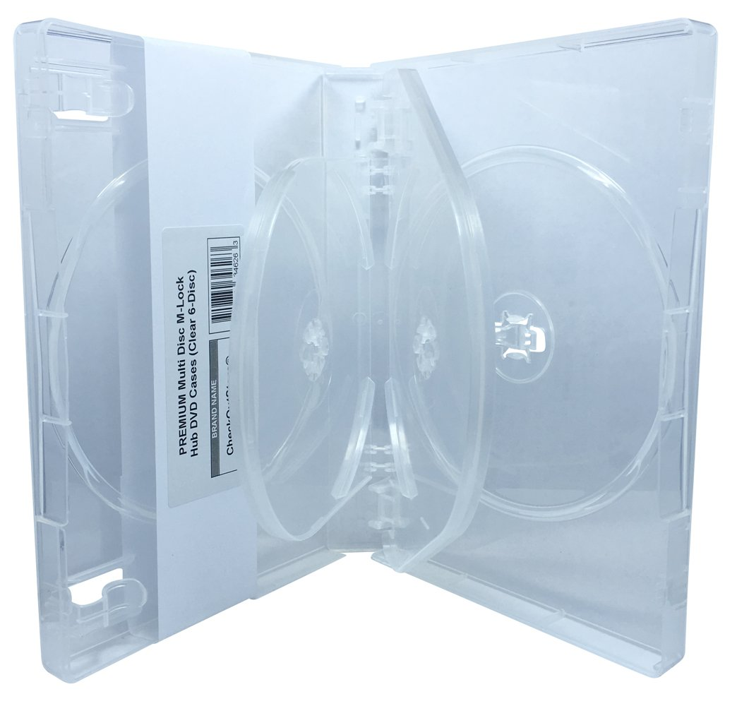 (104) CheckOutStore PREMIUM Multi Disc with Patented M-Lock Hub DVD Cases (6 Disc - Clear)