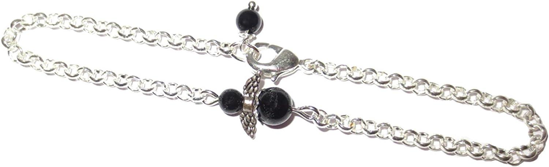 Schwarzer Turmalin Armschmuck Armkette mit Edelsteinengel versilbert Handgemacht