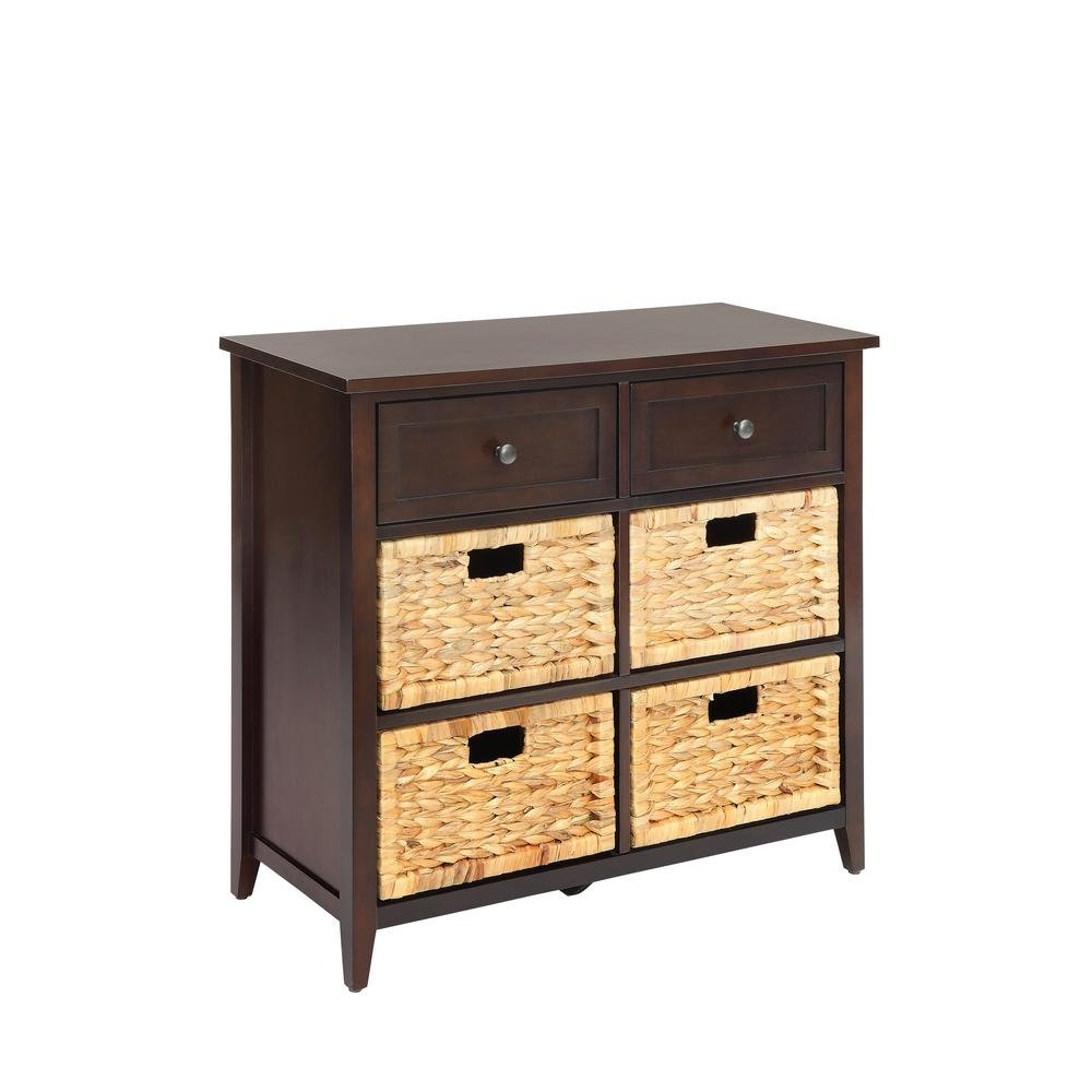 Major-Q Console Table with 6 Drawers for Dining//Kitchen // Living Room 30 x 13 x 28 B078NJ1T87 Rectangular Wood Rustic and Espresso Finish
