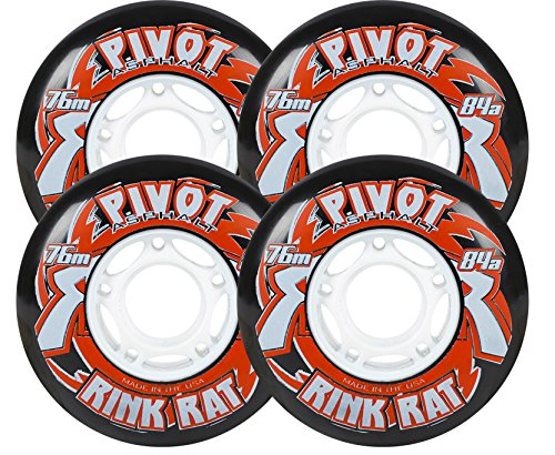 Rink Rat Wheels 72mm 84a Pivot Asphalt 4-Pack Black/Red Inline Outdoor Hockey