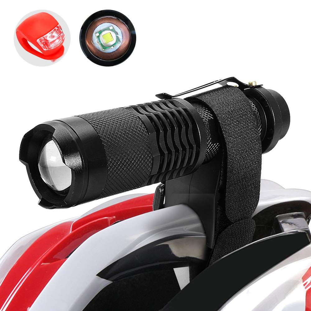 Maketheone Bike Bicycle Front Light Headlight-Taillight Combination Rechargeable Cycle Helmet Light Head Torch Kit Bright Flashlight+Rear Light+18650 Battery+Universal Charger+Helmet Mount+Bike Mount by Maketheone (Image #1)