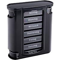 S/O® Tablettenbox schwarz mit schwarzen Schiebern 7 Tage Pillen Tabletten Box Schachtel Tablettendose Pillendose Pillenbox Tablettenboxen Pillendosen Pillen Dose Wochendosierer