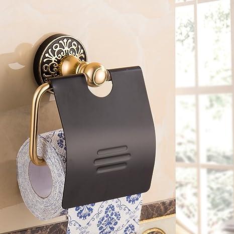 GH&B Decoración interior colgante titular de rollo espacio oxidación de aluminio titular rollo de baño negro ...