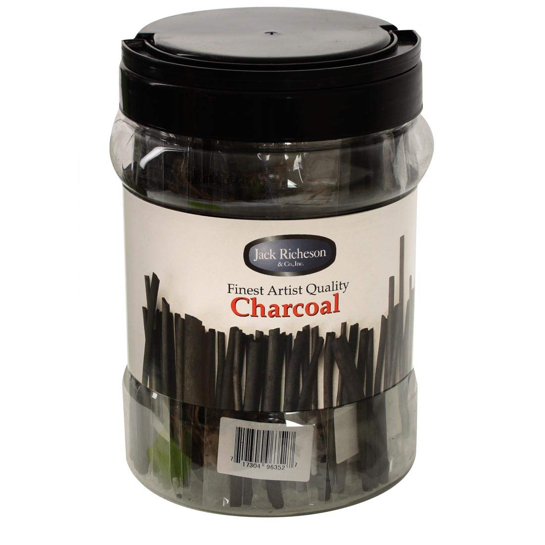 Jack Richeson Non-Toxic Medium Vine Charcoal Stick with Canister, 6 x 3/16 in, Black, Pack of 144 by Nasco