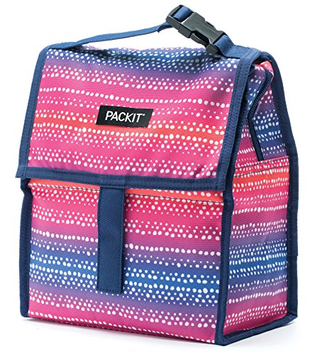 Kids Lunch Tote - PackIt Freezable Lunch Bag with Zip Closure, Batik Ombre