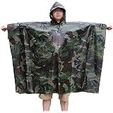 LOOGU Multifunction Military Woodland Waterproof Rain Poncho for Adults