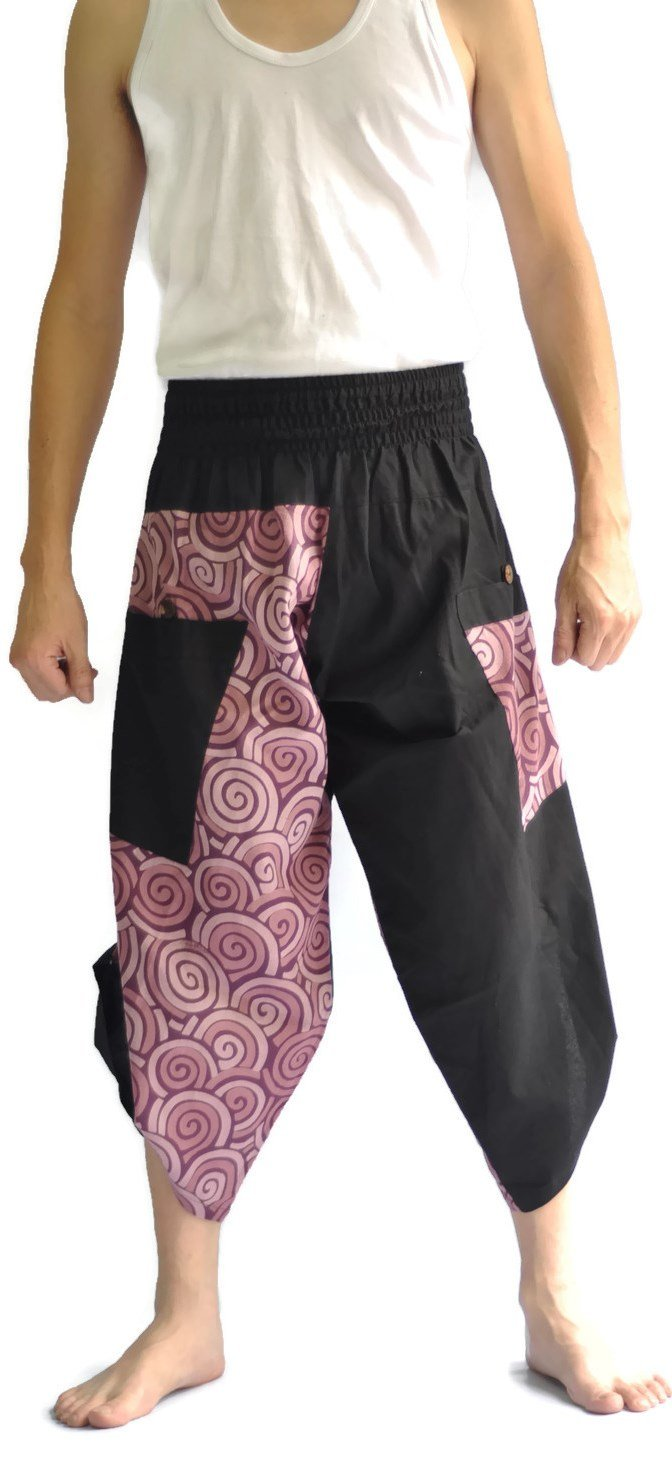 Siam Trendy Mens Harem Pants Design Japanese Style Pants One Size Black and Circle Design (Purple)