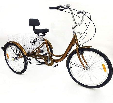YIYIBY 24 Triciclo 6 Velocidad Bicicleta de 3 Ruedas con luz ...