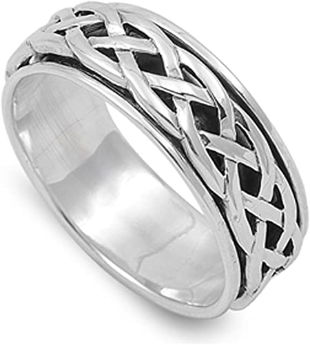 925 Sterling Silver Weaved Spinner Style Ring