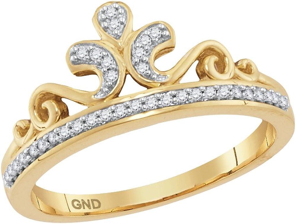 10kt Yellow Gold Womens Round Diamond Crown Tiara Band Ring 1//10 Cttw