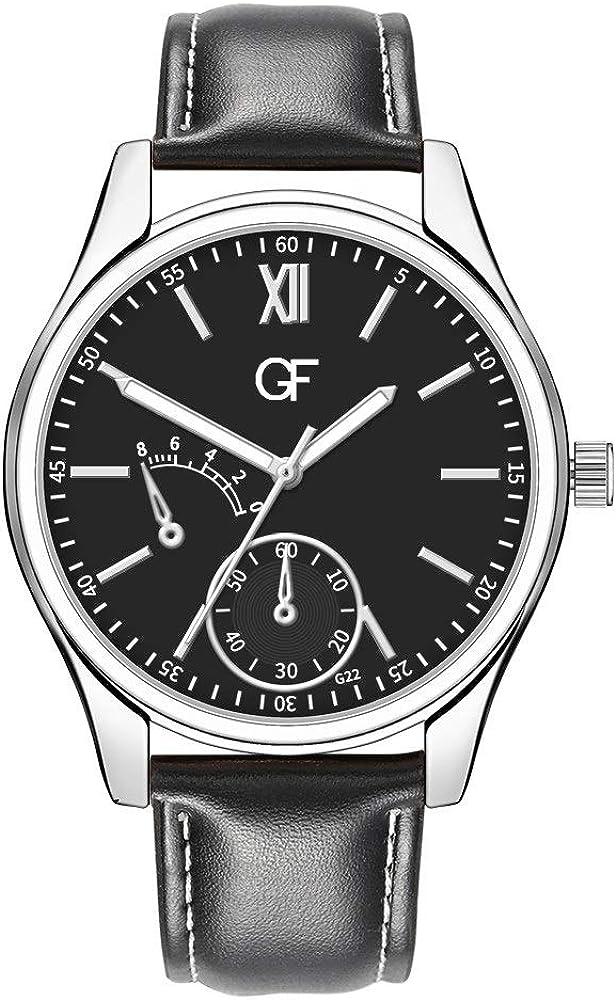 DAYLIN Marcas Relojes Hombre Caballero Moda Reloj Pulsera Cuero de Cuarzo Reloj Quartz Analogico Negocios Reloj Mecanico Automatico Hombre Joya Regalos (Negro)