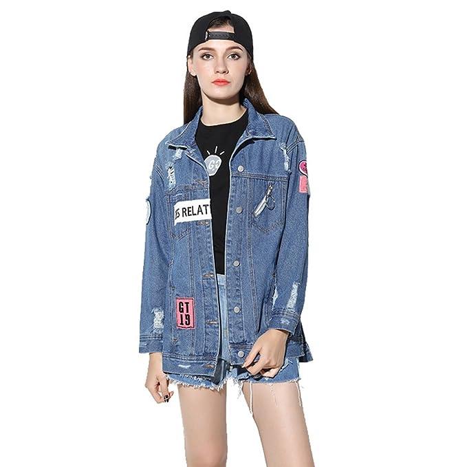 YAANCUN Mujer 2017 Otoño E Invierno Gran Tamaño Chaquetas Jacket De Mezclilla Abrigo Denim Jacket: Amazon.es: Ropa y accesorios