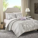 Madison Park Essentials Vaughn King Size Quilt Bedding Set - Grey, Floral – 8 Piece Bedding Quilt Coverlets – Ultra Soft Microfiber Bed Quilts Quilted Coverlet