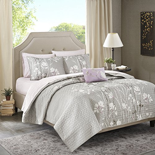Madison Park Essentials Vaughn Twin Size Quilt Bedding Set - Grey Purple, Floral – 6 Piece Bedding Quilt Coverlets – Ultra Soft Microfiber Bed Quilts Quilted Coverlet