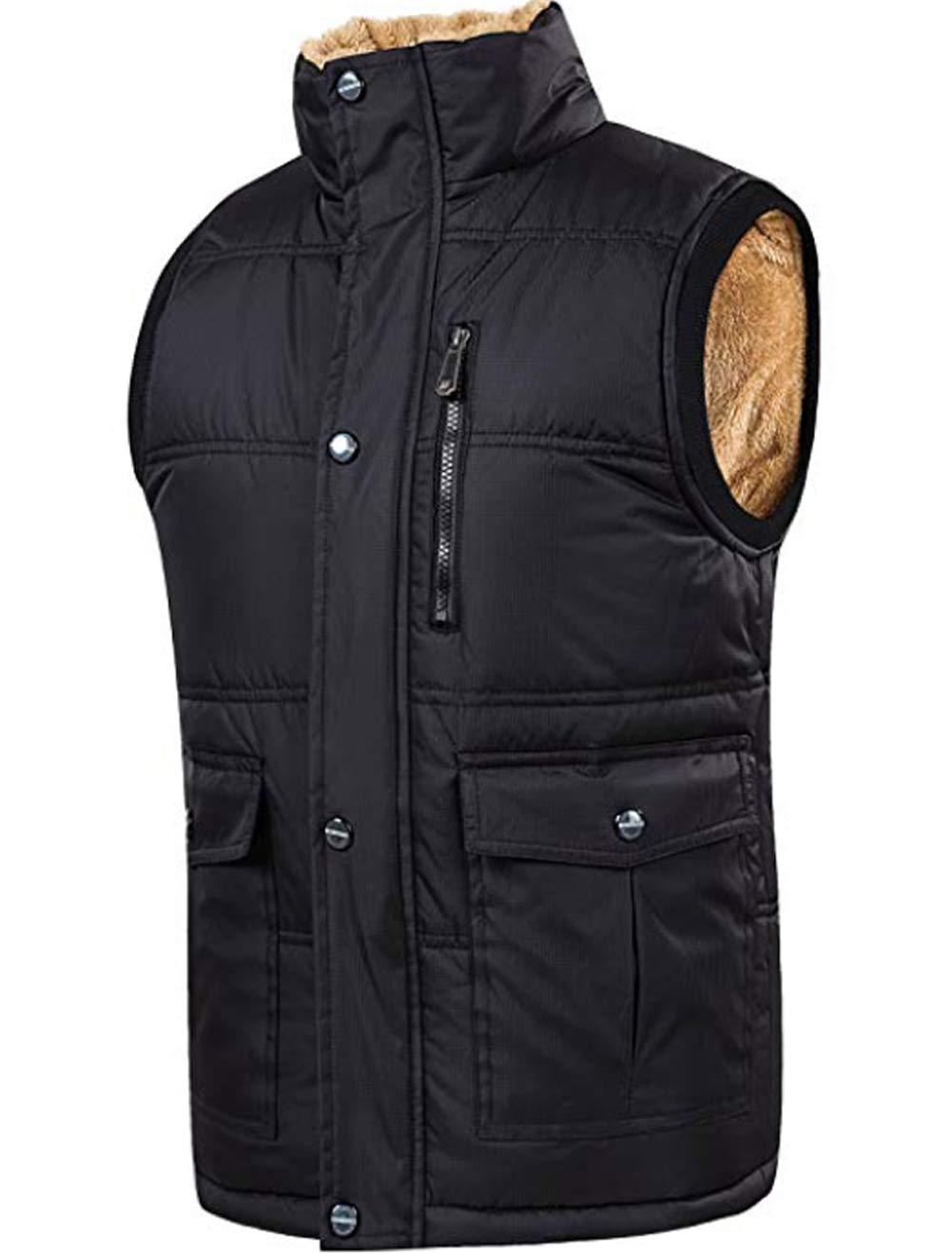 XinYangNi Men's Winter Warm Outdoor Padded Puffer Lightweight Vest Thick Fleece Lined Sleeveless Jacket Black US 3XL /Asia 7XL by XinYangNi