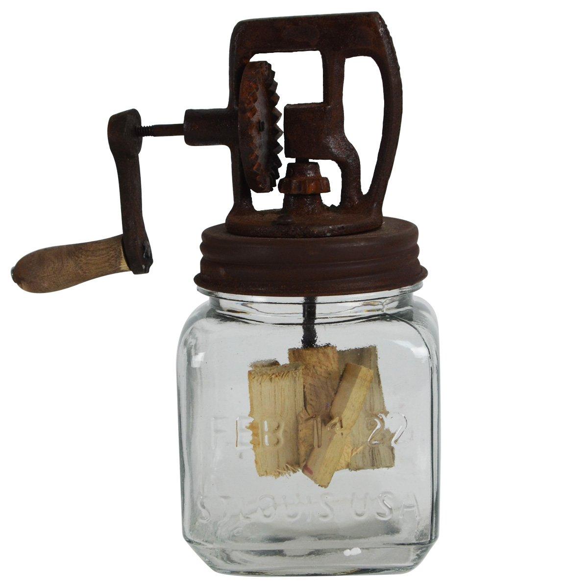 Rustic Antique Style Dazey Glass Hand Crank 1 Quart Butter Churn Primitive Decor by Dazey