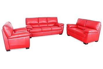 Sofa Couch Editions Leder Garnitur 3 2 1 U220 Rot Mit Federkern