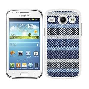 Funda carcasa para Samsung Galaxy Core diseño rayas azul y gris efecto jersey de lana borde blanco