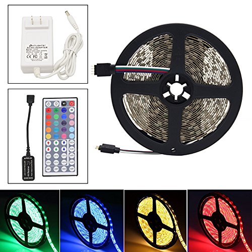 HitLights High Density RGB LED Light Strip Kit, 16.4 Feet - Includes Power Supply and Controller. 300 LEDs, 12V DC Tape Lights