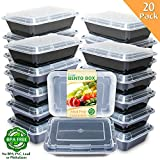 : Enther Meal Prep Containers [20 Pack] Single 1 Compartment with Lids, Food Storage Bento Box | BPA Free | Stackable | Reusable Lunch Boxes, Microwave/Dishwasher/Freezer Safe,Portion Control (28 oz)