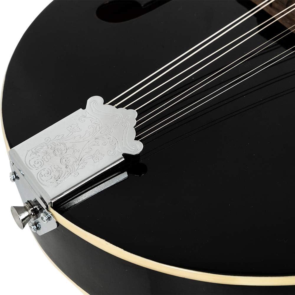 DeTrust Mandolin A Style Elegant Mandolin with Guard Board Black Exquisite Design Appealing Appearance