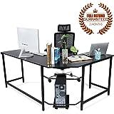 Ej. Life L-Shaped Corner Computer Desk Large PC Gaming Desk Study Table Workstation for Home Office Wood & Metal, Black