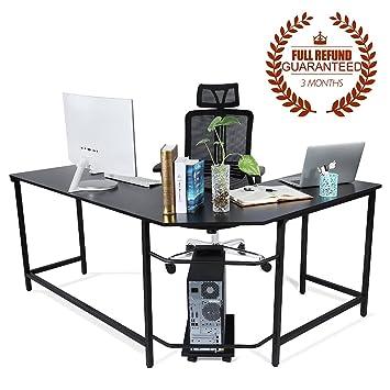 f2287aabf9 Ej. Life L-Shaped Corner Computer Desk Computer Office Desk Large PC Gaming Desk  Study Table Workstation for Home Office Wood & Metal, Black: Amazon.co.uk:  ...
