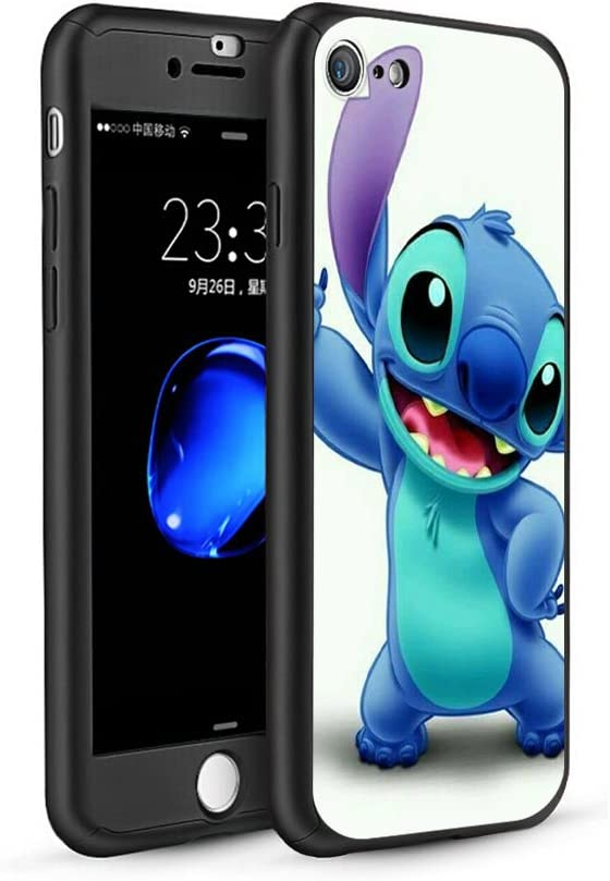 GSPSTORE iPhone 5//5S//SE Case,Lilo /& Stitch Cartoon 360 Full Body Protection Slim Case with Tempered Glass Screen Protector Sling and Ring Holder for Apple iPhone 5//5S//SE #08