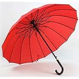 [CAIXINGYI] 傘 雨傘 長傘 16本骨 テフロン超撥水 高強度で強風に負けない 悪天候に強い レディース傘 メンズ傘 紳士傘 グラスファイバー骨 ワンタッチ 軽量 晴雨兼用 日傘 収納ポーチ付き ジャンプ長傘 (赤)