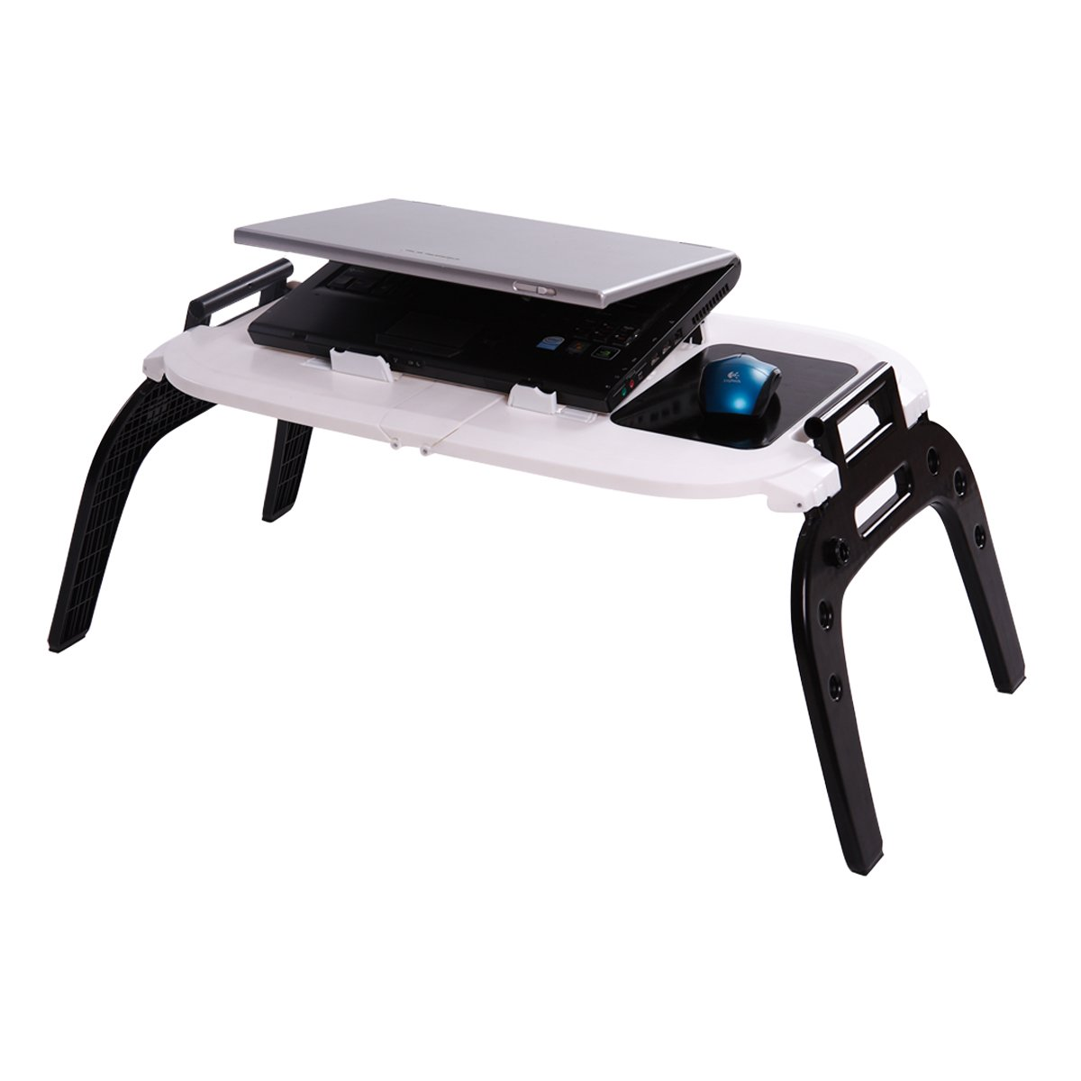 Etable Portable & Folding Laptop Table for Bed, with 2 Cooling Fans, Mouse Pad, Carrying Handle Fits Up to 17'' Laptop/Tablet PC for Using on Bed or Sofa, with Left-Handed or Right-Handed