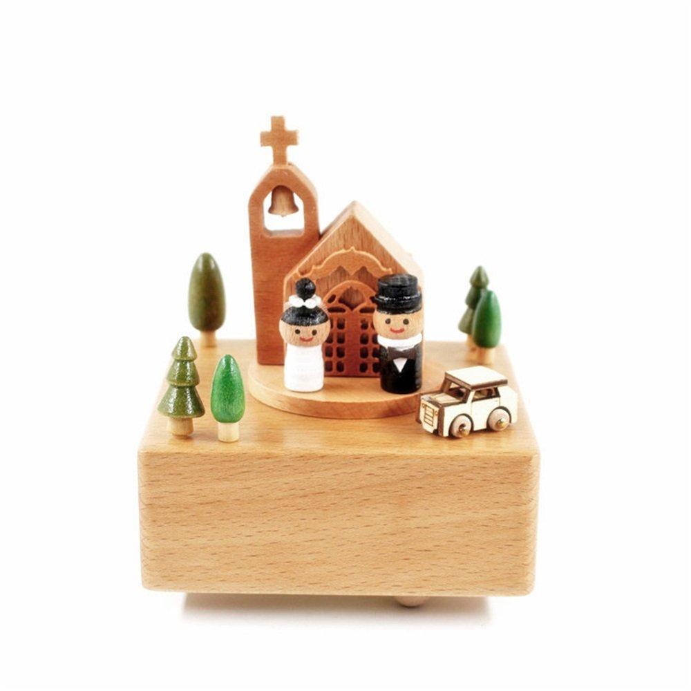 YuFLangel Kreative Geburtstagsgeschenk hölzerne Spieluhr Spieluhr Spieluhr Hochzeitskapelle