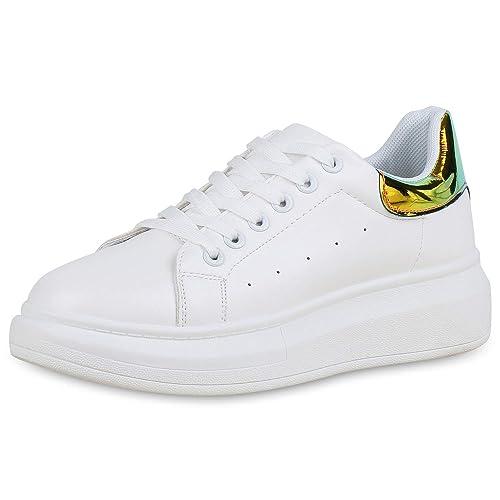 Damen Plateau Sneaker Weiß Plateau Damen Schuhe Frühling