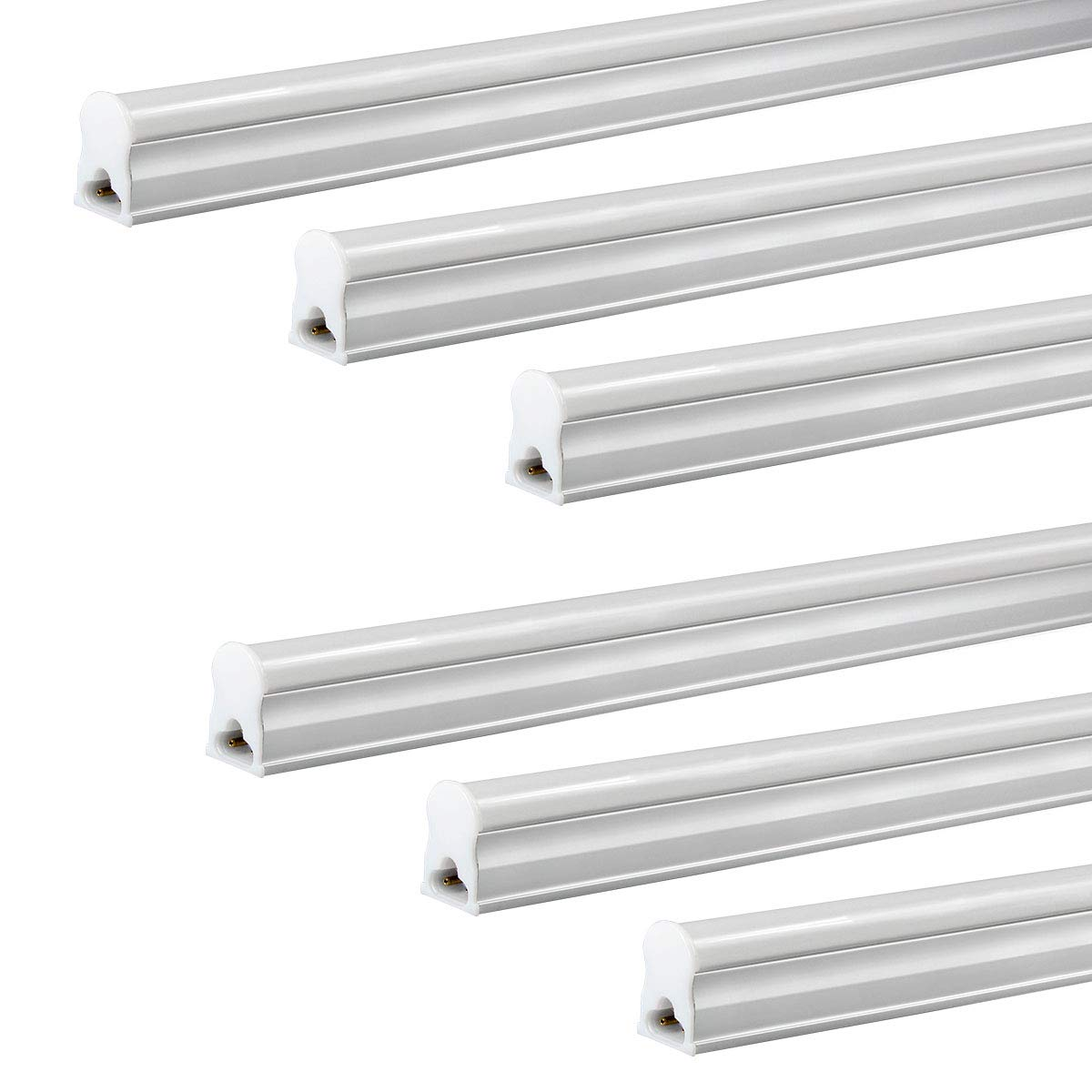 LED T5 Integrated Single Fixture, 4FT 2200lm, 5000K (Super Bright White), 20W, Utility Shop Light, Ceiling and Under Cabinet Light, Corded Electric with Built-in ON/Off Switch 6Pack VVVLIGHT