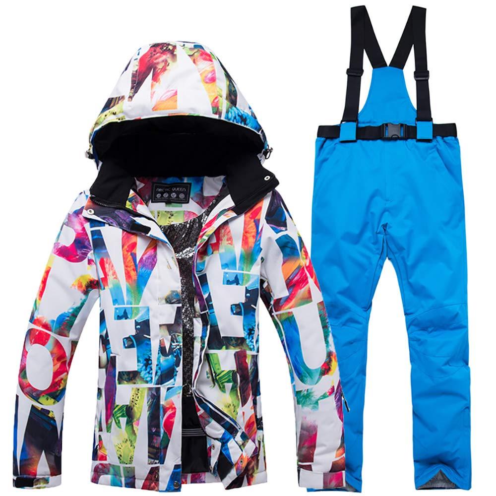 White Jacket + bluee Pant Ueasy Women's Ski Bib Suit Jacket Waterproof Snowboard colorful Printed Ski Jacket and Pants Set