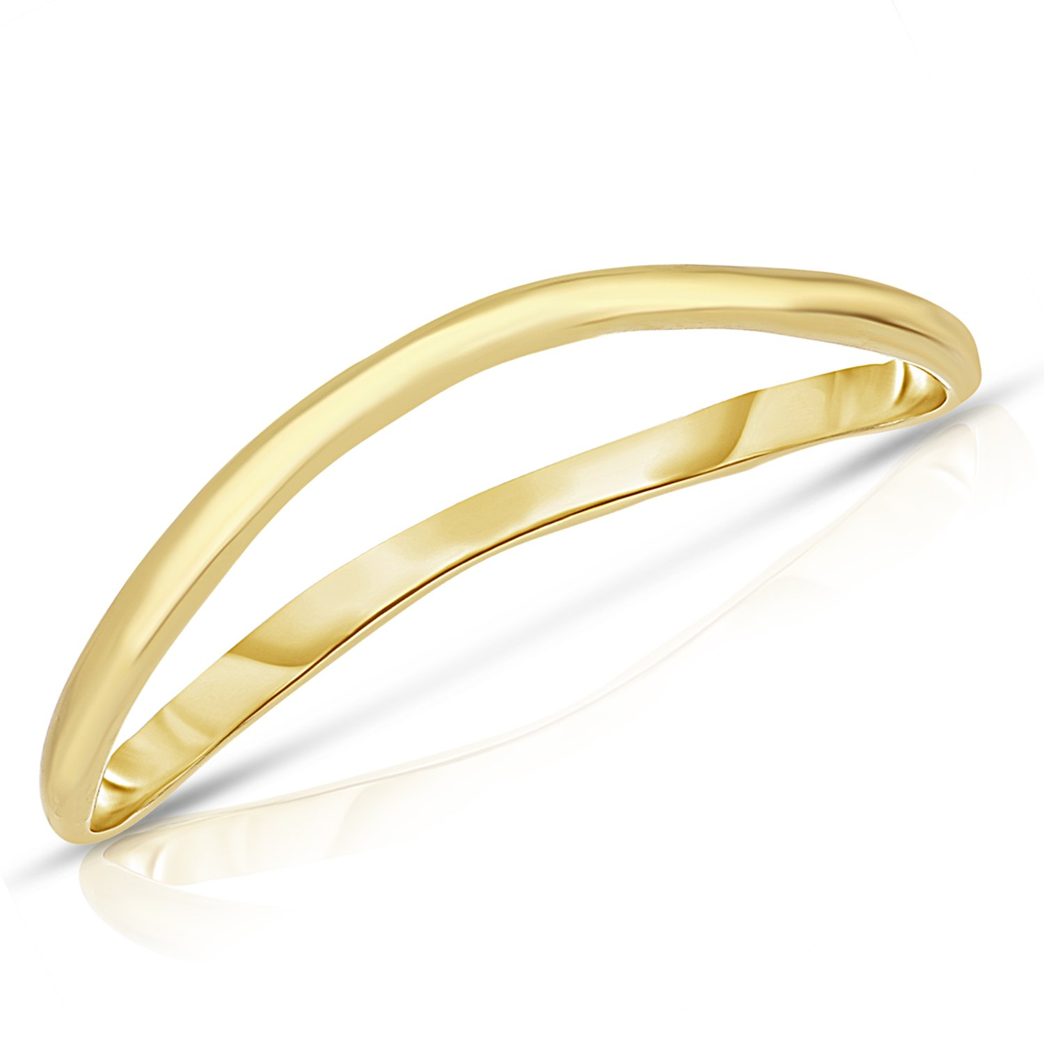 Thin Comfort Fit Curved Wave Thumb Ring (1.5mm) – 10k Yellow Gold - Size 12