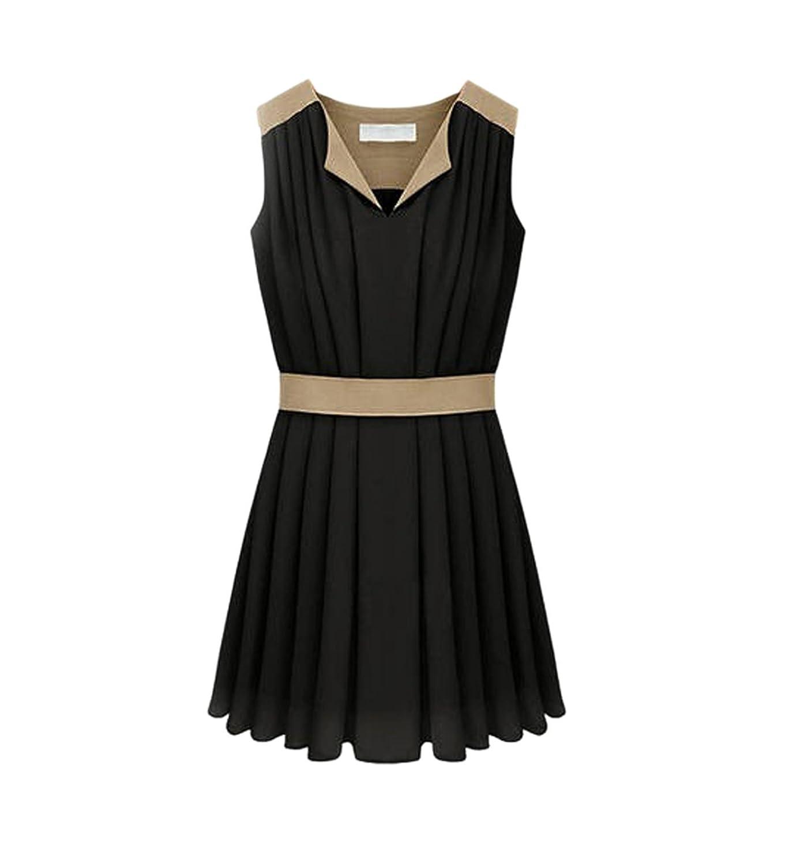 CA Fashion Women's V Neck Sleeveless Chiffon Pleated Dress Sundress